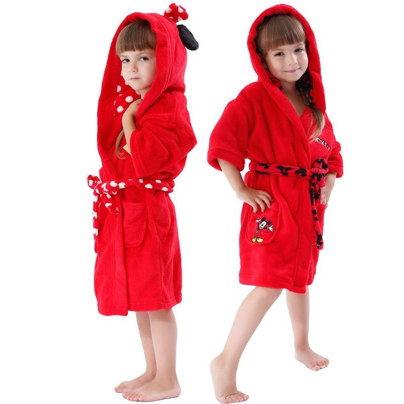 Kids Bathrobe Coral Fleece Red Mickey Minnie Hooded Children Pajama ...