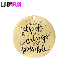 With god all things are possible Charm Stainless Steel Custom Tag For Religious Jewelry Making