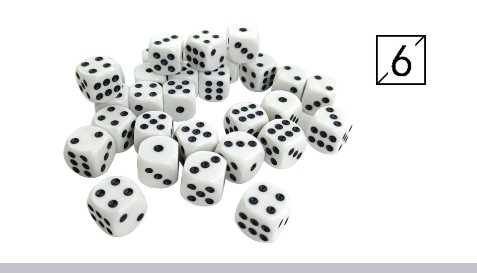 Yernea High-quality 30PcsLot 16mm Dice Set White Black Point Drinking Dice Acrylic White Round Corner D6 Points Dice Club Party (7)
