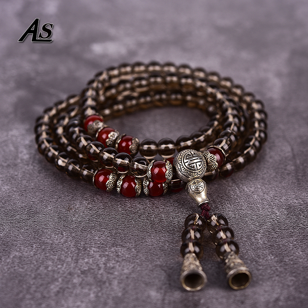 Asingeloo Tibetan Buddhist Handmad Natural Smoking Quartz Stone Prayer Beads Buddha Bracelet Rosary Bracelets Men Jewelry