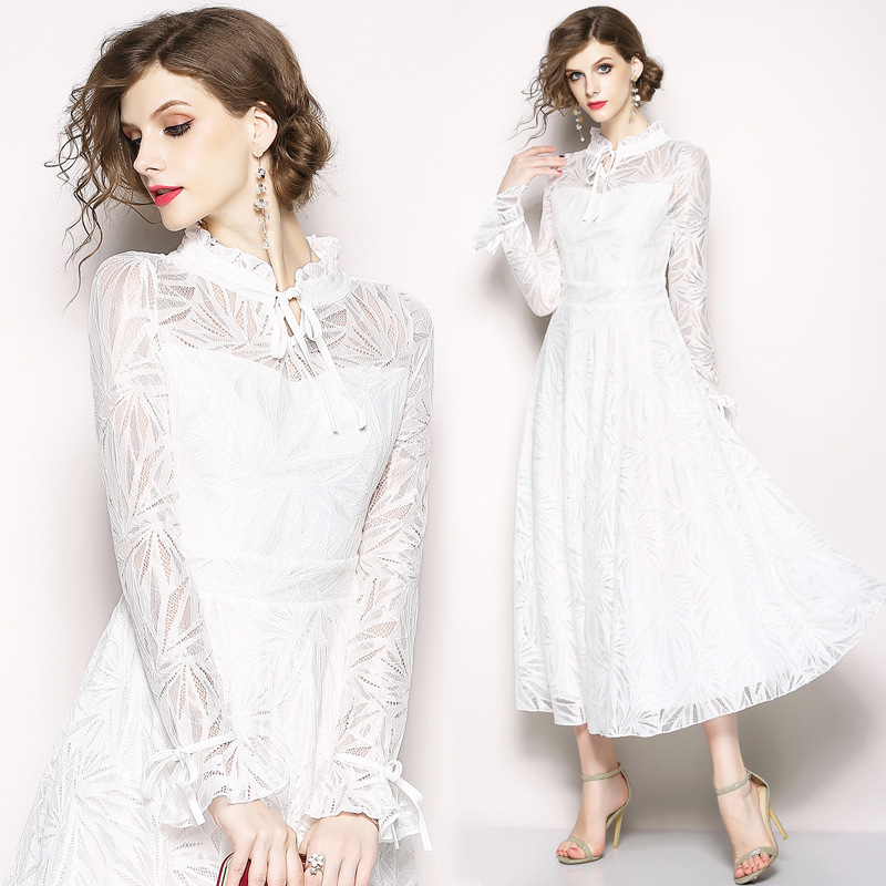 Blanc Femme Muxu Verano 2018 Vêtements Sukienka Longues Robe Élégant Largo Jurken Robes Feminina Jurk Roupas Dentelle SqEwxEard