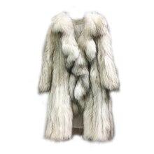 2019 new arrival luxury soft women real fur knitted raccoon long coat femme genuine winter outwear butterfly edge