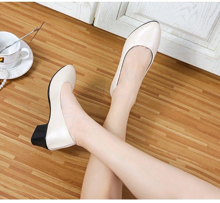 En 1 Taille Hiver 2018 Plates Chaussures Épais Pompes Sabots Chunky Talons Cuir formes Bout 2 Grande Rond Shose Noir Femmes Bas Dames dWCeBrxo