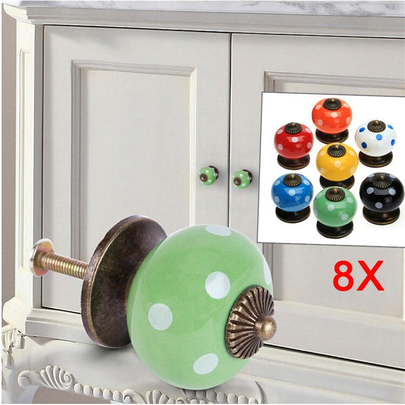 цены на 8pcs Vintage Dot Round Ceramics Drawer Knob Door Cabinet Kitchen Pull Handle Furniture Hardware Handle Decoration J2Y в интернет-магазинах