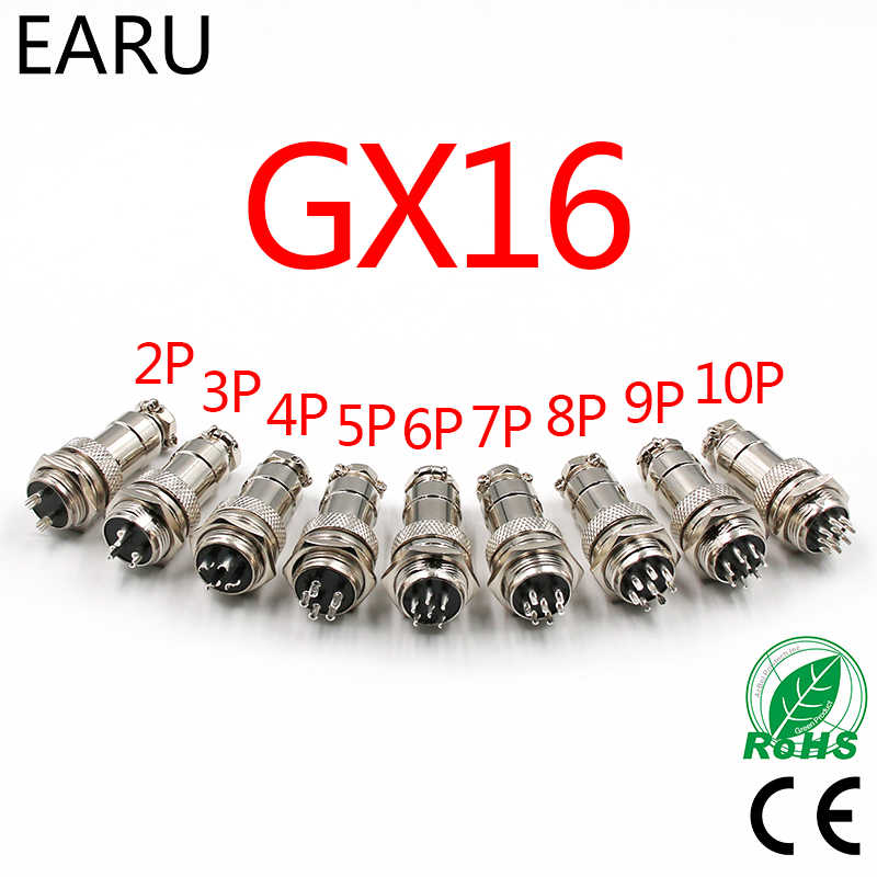 "1 Set 5/8 ""GX16-2/3/4/5/6/7/8/9/ 10 Pin Pria Wanita 16 Mm Circular CONNECTOR Wire M16 GX16 Penerbangan Konektor Soket Plug Logam"