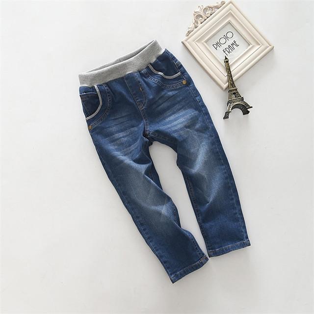 KZ-09, muchachos de los niños pantalones de mezclilla, bolsillo bordado, algodón spandex