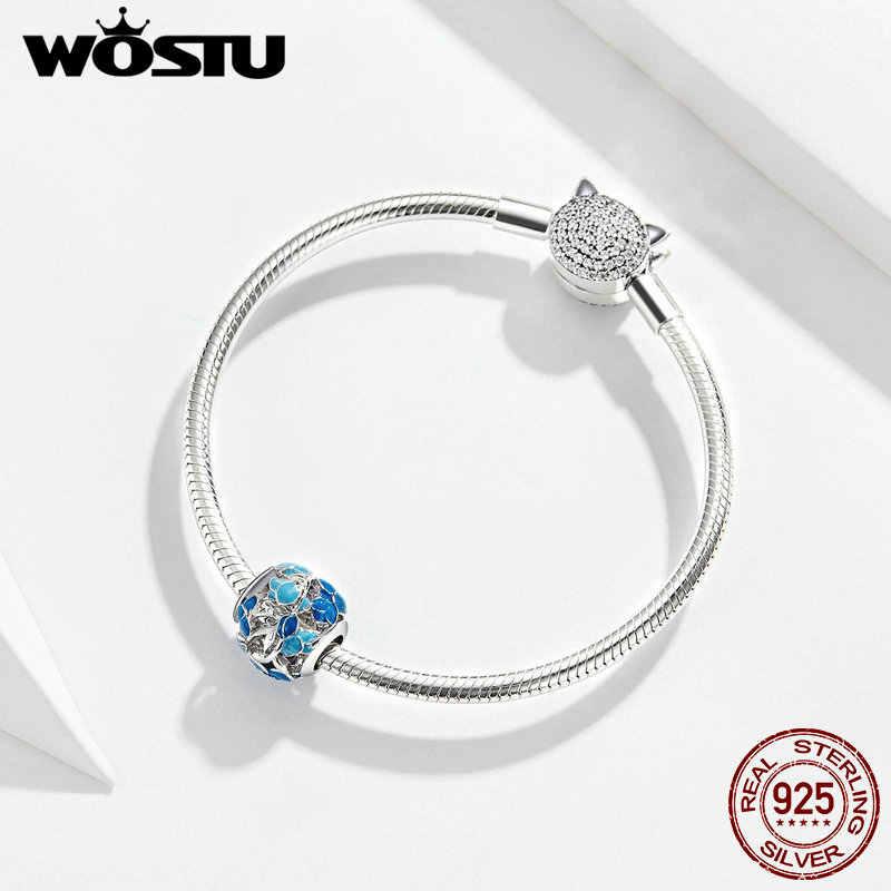 WOSTU Blue Blossom ดอกไม้ลูกปัด 100% 925 Sterling Silver Charm พอดีสร้อยข้อมือเดิมจี้แฟชั่นเครื่องประดับ FNC087