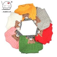 Warm Winter Soft Woolen Baby Boys Girls Sweaters Infant Cute Cartoon Bear Kids Pullovers Knitted Turtleneck Children Outerwear
