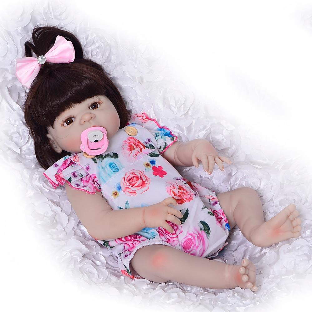 57 cm Fashion Newborn Dolls Realistic Reborn Silicone Bonecas Vinyl Full Body 23'' Lifelike Babies Reborn Dolls Girl XMAS Gifts цена 2017