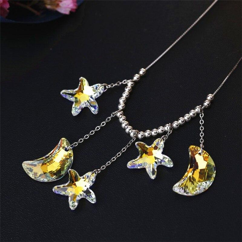 SWAN BIJOUX De Mode De Luxe Collier En Cristal Élégance Étoiles Lune Pendentif Collier Bijoux Cadeaux Femmes Filles Accessoires De Mariage