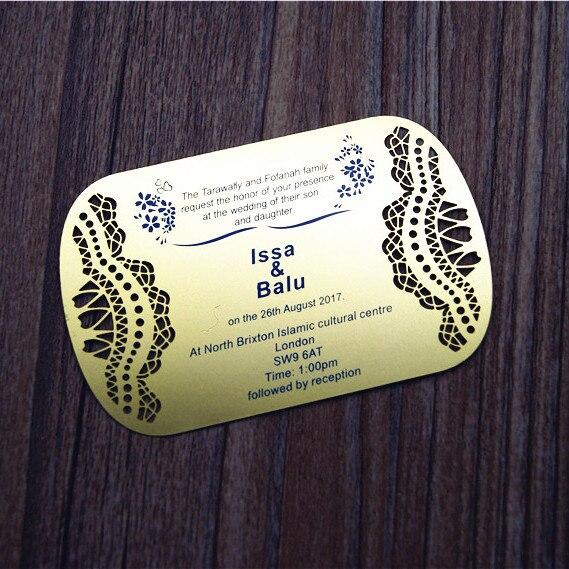 5 49 Boda Oro Plata Metal Tarjeta De Invitación De Doble Cara Impresa Personalizado Servicio 100 Unids Lote Js1 In Tarjetas E Invitaciones From