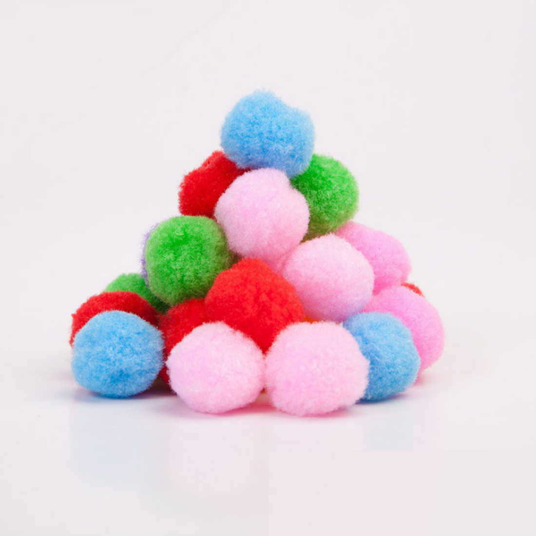 Nova 100pcs 5 tamanho cor da mistura Macia Fluffy Plush pano Artesanato DIY bola Macia bola de pêlo pompom decoração da sua casa suprimentos de costura