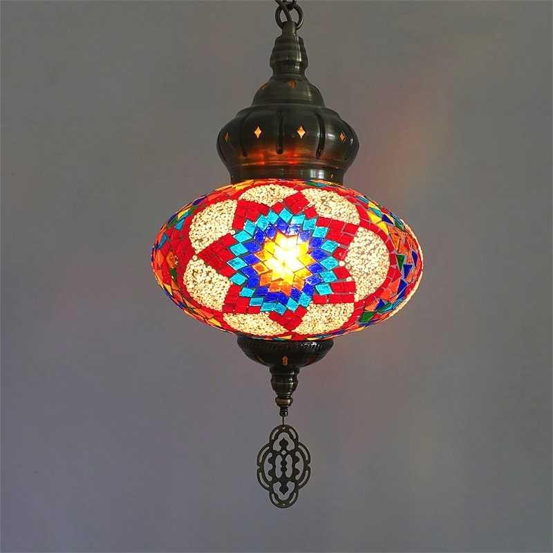 Moroccan турецкий Стиль Ретро Винтаж подвесной светильник E27 базы Средиземноморский Стиль украшения мозаики подвесной светильник
