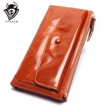 יכול להחזיק שני טלפונים ניידים נשים רטרו אמיתי עור ארוך ארנק שמן שעווה רב כרטיס בעל מצמדי תיק