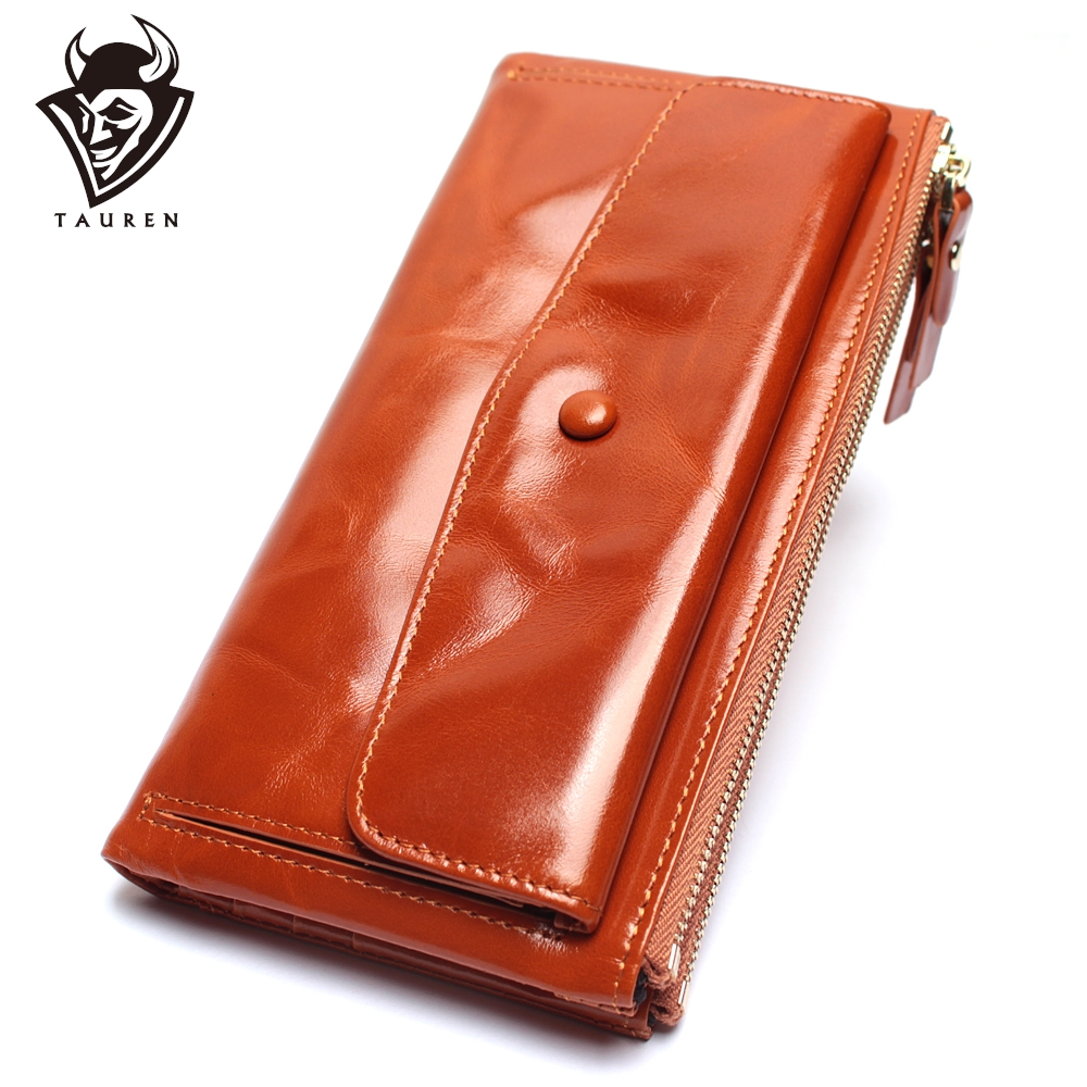Can Hold Two Mobile Phones Women Retro Genuine Leather Long Wallet Oil Wax Multi-Card Holder Clutches Bag