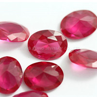 Factory Price Rectangle and Oval Shape Brilliant Cut Synthetic Red Stone Beads Loose 5# Red Corundum Stone For Jewelry