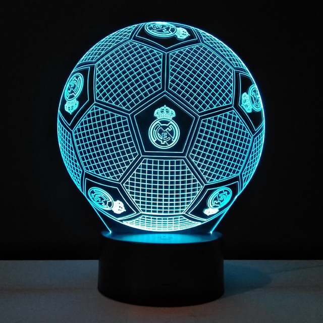 Football 3D LED Lamp Touch Switch Table lampe 7 Colors Changing ...