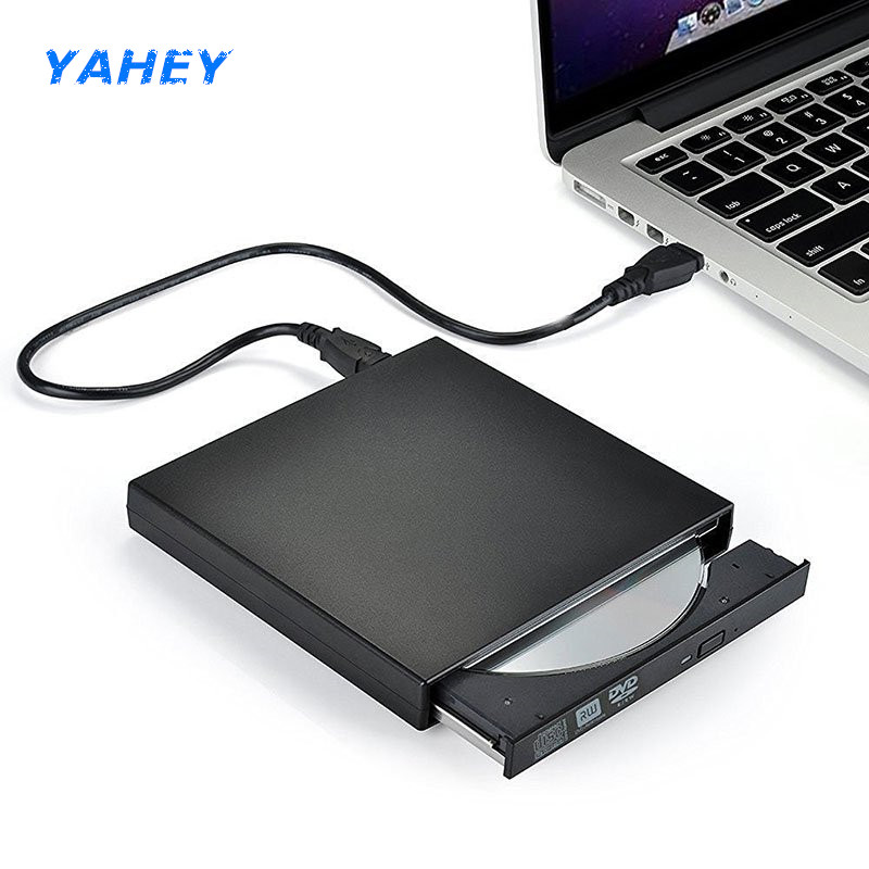 USB 2.0 Portable Ultra Slim Optical External DVD-RW/CD-RW Burner Writer Rewriter for MacBook Laptop PC windows10/7/8 XP