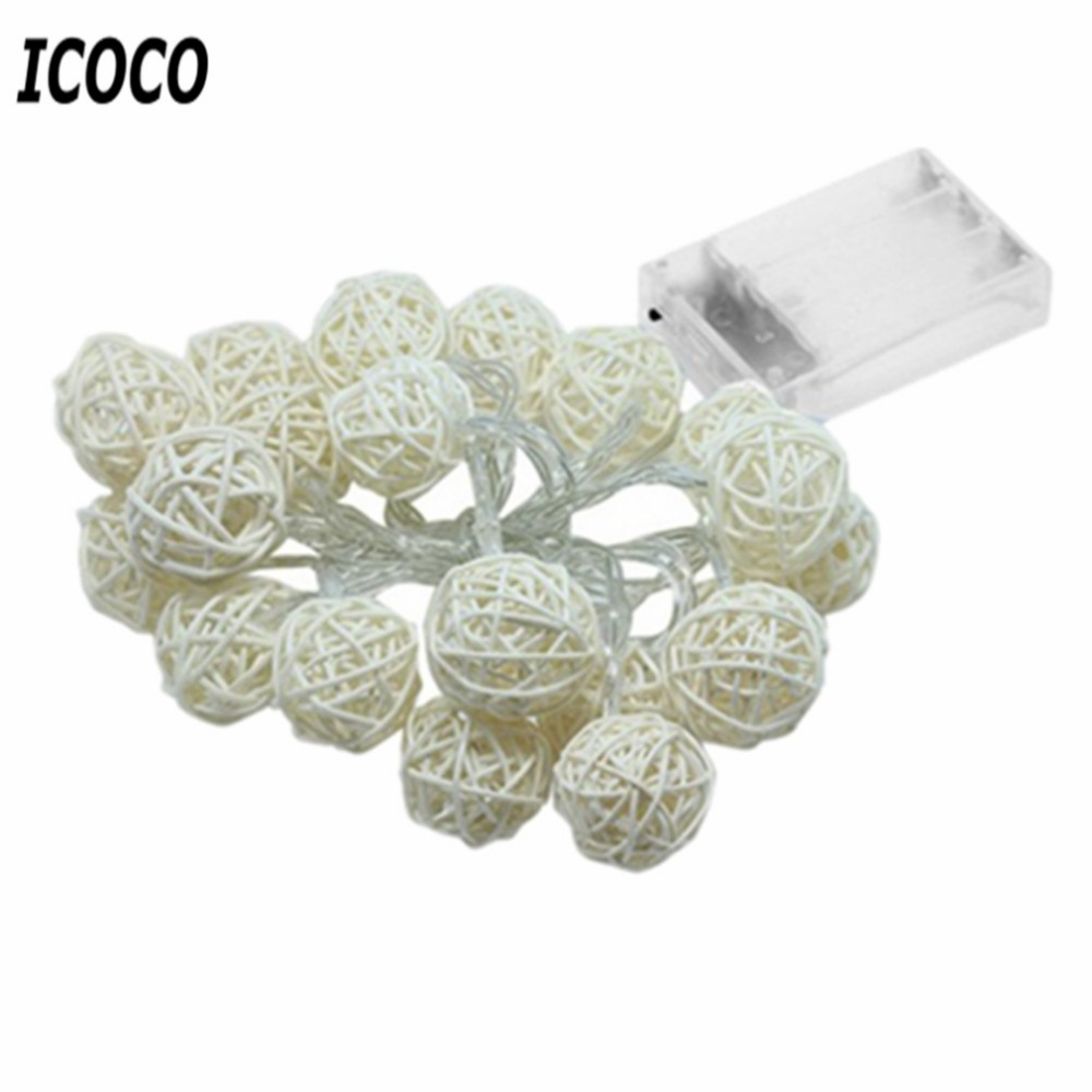 ICOCO 2.2M 20 LED Warm White Rattan Ball LED String Lighting Holiday Christmas Wedding Party Curtain Decoration Lights