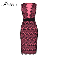 Kinikiss Woman Bodycon Dress Color Block Sleeveless Round Neck Lace Mid Calf Zipper Patchwork Embroidery Sexy