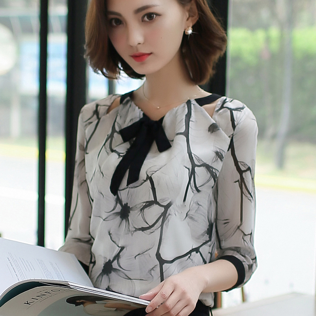 blusas femininas plus size women clothing Summer tops elegant chiffon blouse Hollow out ink print bow shirt OL work wear