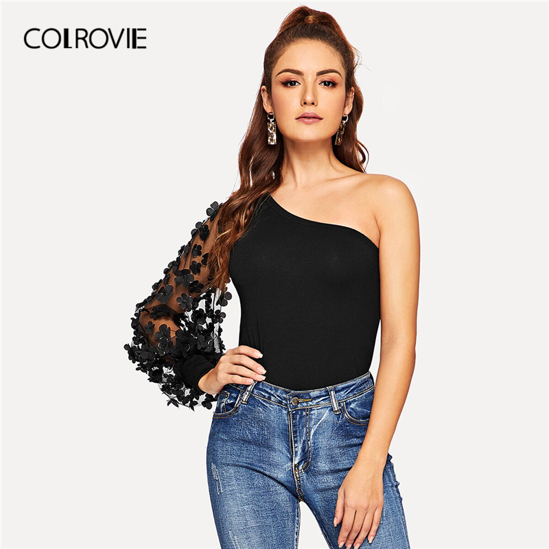 COLROVIE Black One Shoulder Applique Floral Mesh Sleeve Sexy   Blouse     Shirt   Women 2019 Workwear Elegant Ladies Tops And   Blouses