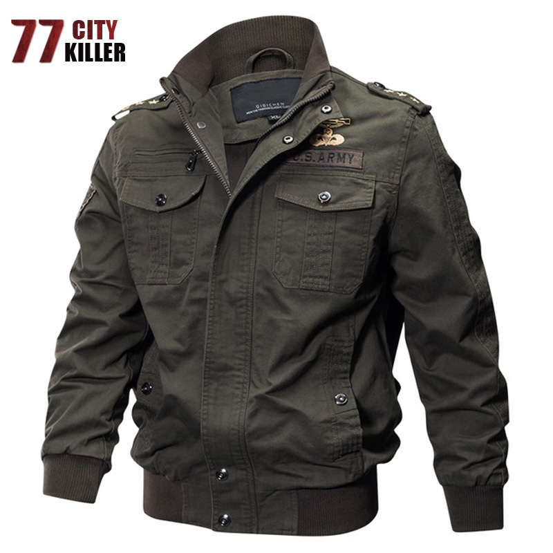 77City Killer Military Pilot Jackets Bomber Cotton Coat Tactical Army Jacket Male Casual Air Force Flight Jacket Plus Size M-6XL