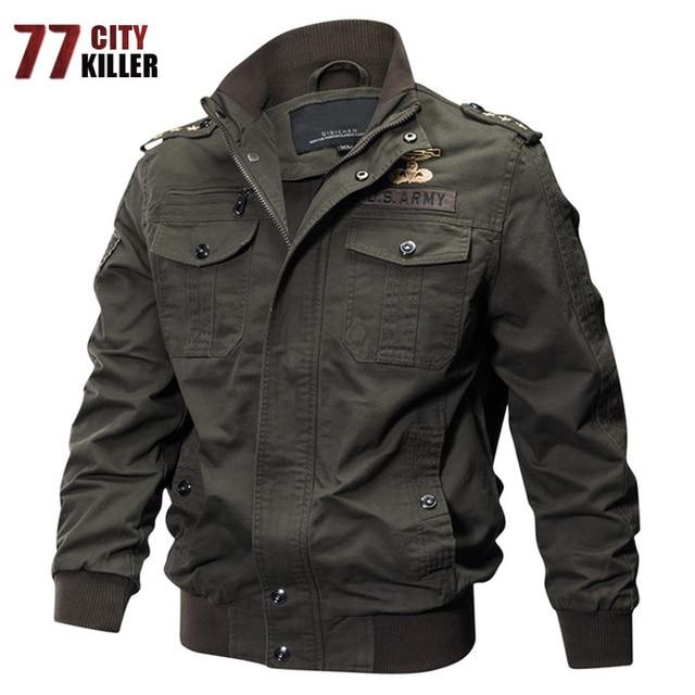 77City Killer Military Pilot Jackets Bomber Cotton Coat Tactical Army Jacket  Male Casual Air Force Flight Jacket Plus Size M-6XL 7360fbd8864