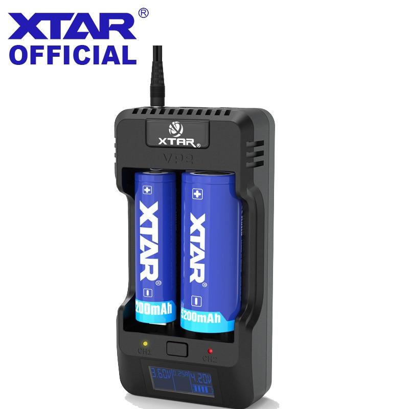XTAR VP2 3.2 v 3.6 v 3.8 v Carregador de Bateria Powerbank USB Para 10440 14500 18350 18700 22650 26650 18650 carregador de bateria XTAR VP2