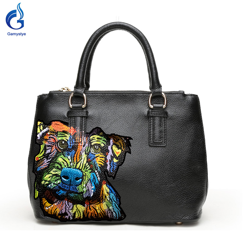 Gamystye Новый дизайн Граффити Женщин Сумки Натуральная кожа Сумки ручной краска черепа сумки Милая Собака мешки настроить