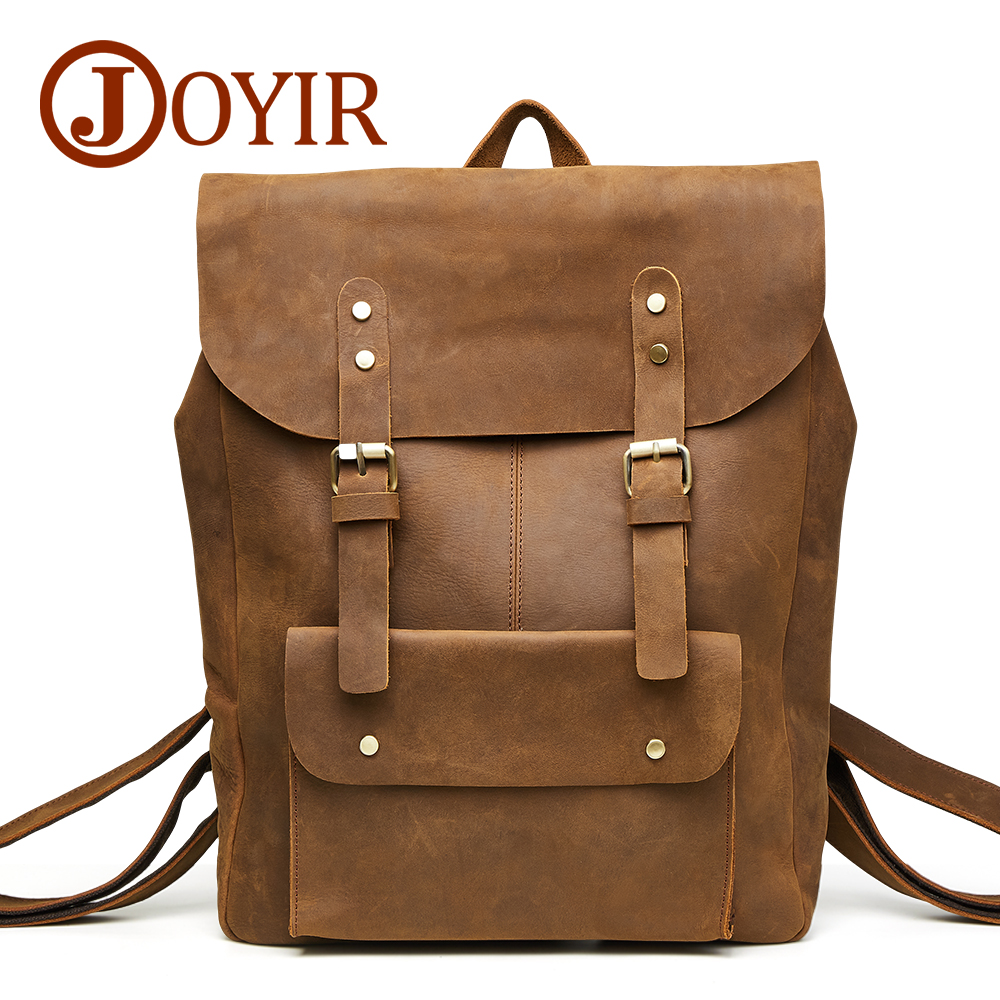 f702410f5f JOYIR Crazy Horse Cowhide Men s Backpack Genuine Leather Vintage Daypack  Travel Casual School Bags 15