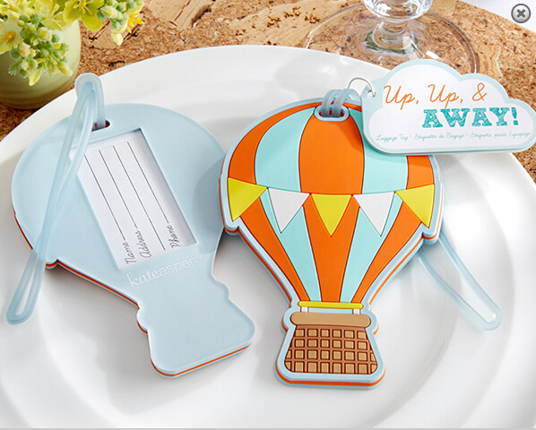 24pcs/Lot+Summer Wedding Favors Up,Up & Away Hot Air Balloon Luggage Tag Rubber Luggage Tags Bridal Shower Favor+FREE SHIPPING