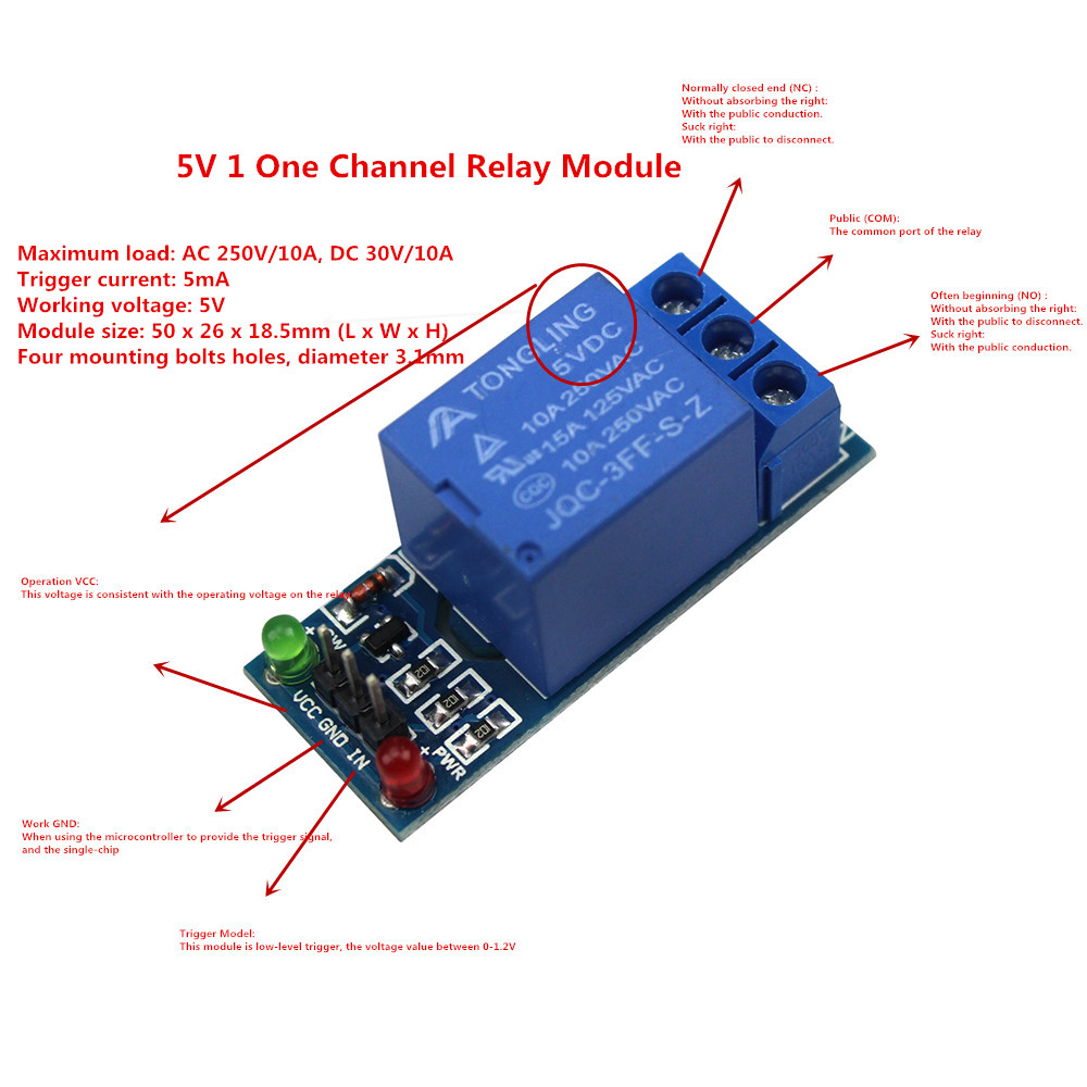 Smart Electronics 5V 1 One Channel Relay Module Low level for SCM Household Appliance Control For