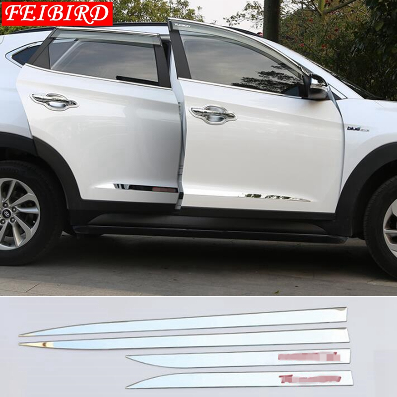 Image 4 - Accessories For Hyundai Tucson 2016 2017 2018 4PCS Side Door Molding Body Strip Streamer Protection Lid Molding Cover Kit Trim-in Chromium Styling from Automobiles & Motorcycles