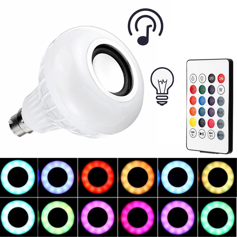 New Arrival LED Lamp Bulb B22 12W Color Changing Smart RGB Wireless Bluetooth Speaker Music LED Light Bulb With Remote Control smuxi e27 led rgb wireless bluetooth speaker music smart light bulb 15w playing lamp remote control decor for ios android