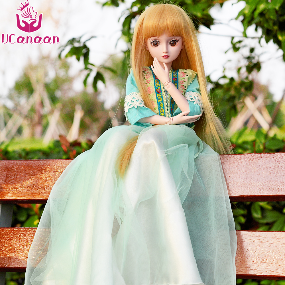 UCanaan 1/3 BJD Girl Doll 19 Ball Jonited Dolls For Girls Beauty Long Hair Princess Toys For Children DIY Dressup SD Juguetes 1 8 bjd sd doll wigs for lati dolls 15cm high temperature wire long curly synthetic hair for dolls accessorries high quality wig