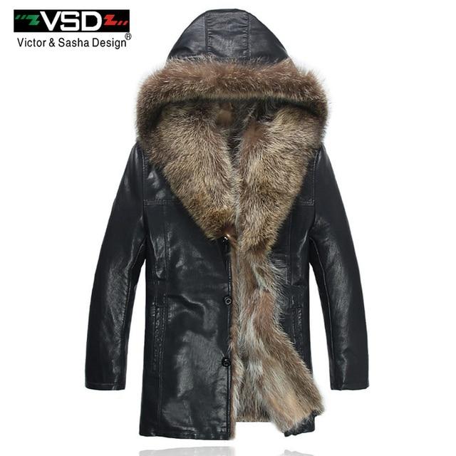 f0ab76755cf Freeshipping Winter Fashion Men s Coats Raccoon Fur PU Leather Jacket Hat  Keep Warm Leather Jackets Man High Quality Hot Sale VS