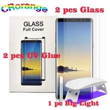 2 piezas UV pegamento 2 piezas Protector de pantalla para Samsung S8 S9 más Note8 vidrio templado cubierta completa 1 unid luz líquido para Galaxy S7 borde