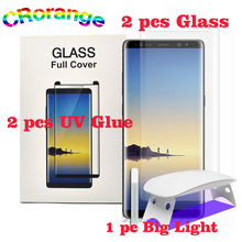 2 stks UV Lijm 2 stks Screen Protector Voor Samsung S8 S9 Plus Note8 Gehard Glas Volledige Cover 1 st licht Vloeistof voor Galaxy S7 rand