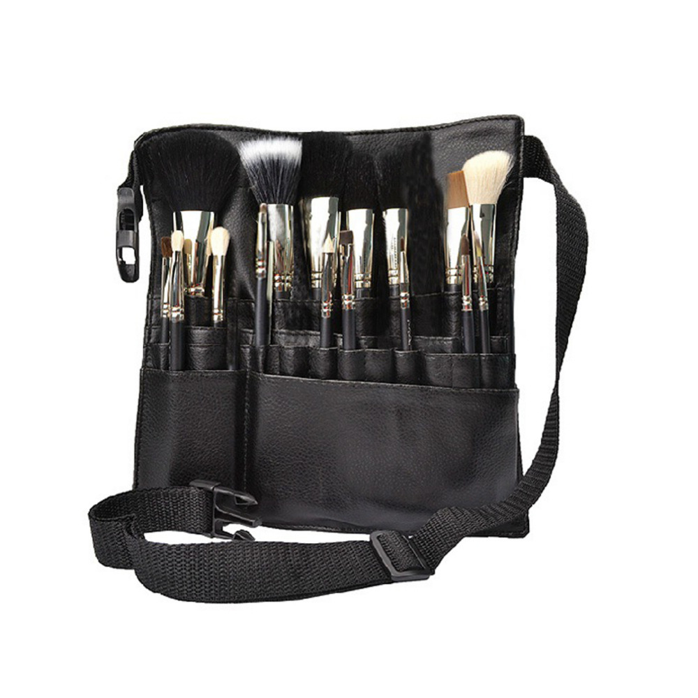 1pc Professional PU Makeup Brushes Apron Bag Artist Belt Strap Black 22 Pockets Make Up Brushes Case Organizer Cosmetic Tool make up for you professional 7 in 1 cosmetic makeup brushes set w case black