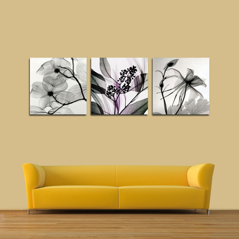 Wall Art Black&White abstract Flowers Print Canvas Printings ...