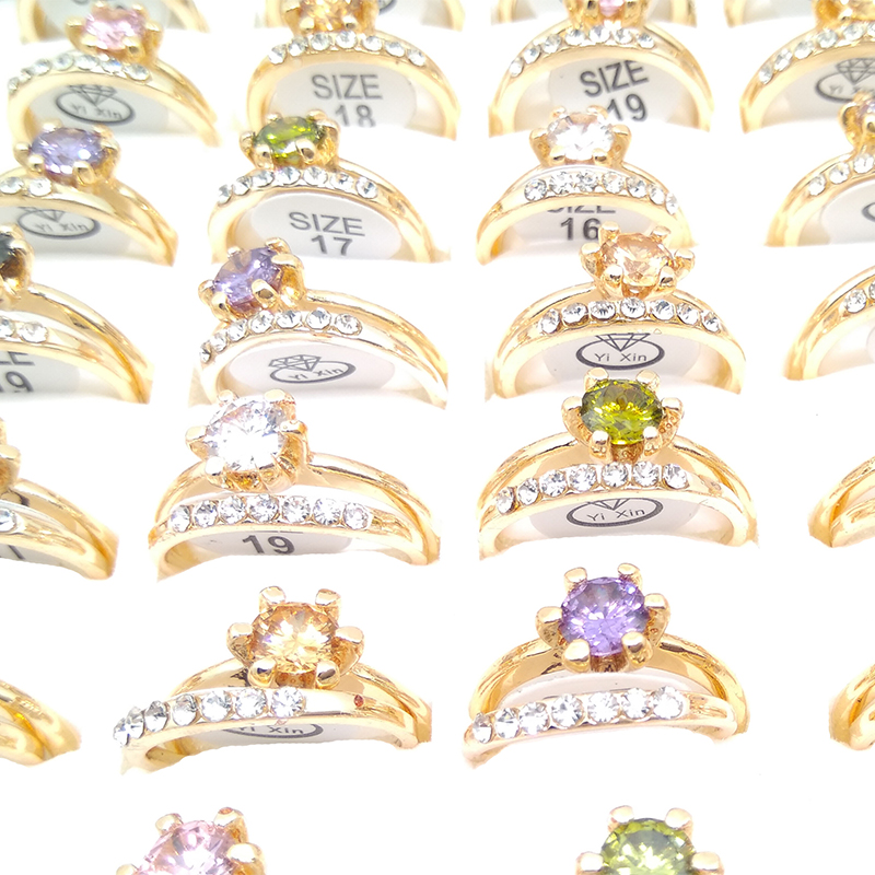 10pair Fashion Wholesale lots Multi Color Rhinestone Finger Rings Band for Women Men Lovers in Engagement Rings from Jewelry Accessories
