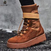 Prova Perfetto 2018 Fashion High Top Casual Shoe Lace Flat Platform Boots Women Lace Up Short Botas Mujer Genuine Leather Shoes