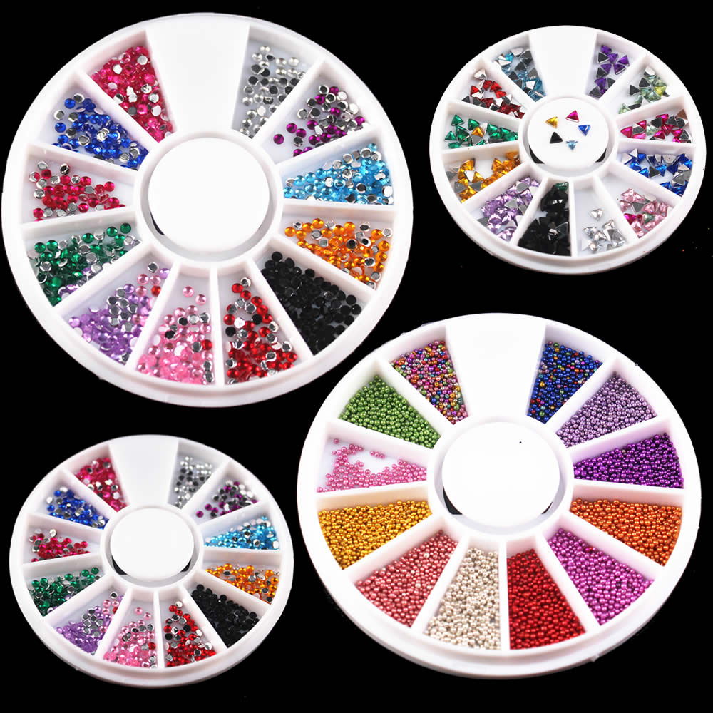 1 box 12 colors nail rhinestones 2mm acrylic nail art for Acrylic nail decoration supplies