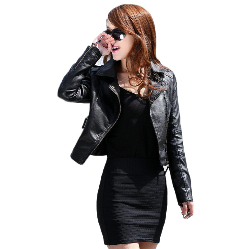 Faux   Leather   Coat Women Black Wine Red S-3XL Plus Size PU Jacket 2019 Autumn Korean Fashion Short Slim Zipper Pockets Coat JD338