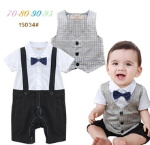 Free Shipping 4sets/lot Formal romper with vest set