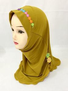 Image 2 - Ramadan Muslim Kids Girls Hijab Scarf Islamic Flower Caps Shawls Amira Headscarf Wrap Headwear Turban Arab Children Underscarf