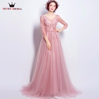A Line V Neck 3 4 Sleeve Lace Beading Flowers Elegant Formal Evening Dresses 2018 New