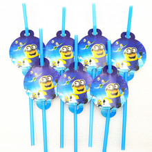 10pcs/bag Minions Party Supplies Drinking Straws kids Birthday Decoration Baby Shower birthday
