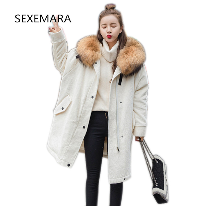 Women Winter Cotton jacket 2017New Fur collar Hooded outwear Long section Thick warm Parka Loose large yards Overcoat female069 winter feather cotton women outwear long section thick section slim hooded coats large fur collar large size down jacket lx165